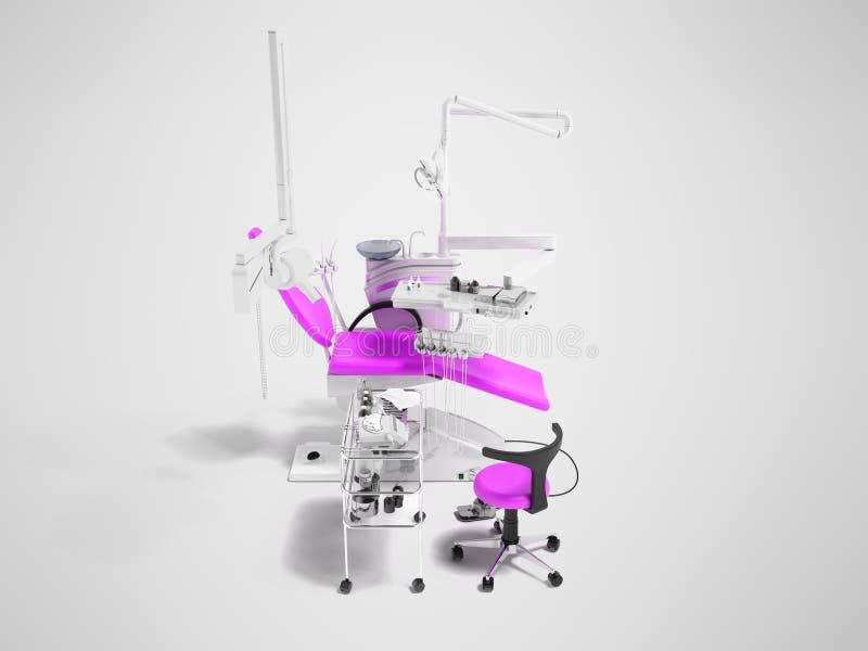 Moderner halbautomatischer zahnmedizinischer Stuhl hellpurpurn mit Ausrüstung f stock abbildung