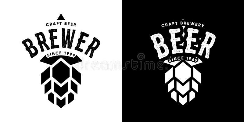 Moderner Handwerksbier-Getränkvektor lokalisierte Logozeichen für Bar, Kneipe, Brauerei oder Brauerei lizenzfreie abbildung