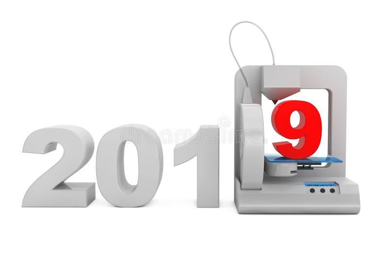 Moderner Haupt-Druck des Druckers 3d neues 2019-jähriges Zeichen Wiedergabe 3d stock abbildung