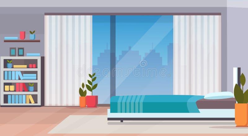 Moderner Hauptbettraum der Innenarchitektur des schlafzimmers zeitgenössischer leer keine Leutewohnungsfensterstadtbild-Hintergru stock abbildung