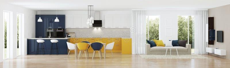 Moderner Hausinnenraum mit gelber Küche stock abbildung