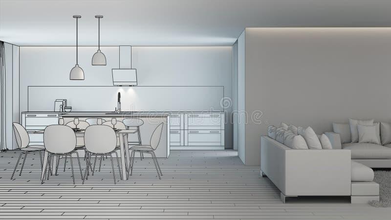 Moderner Hausinnenraum Projektplanung skizze vektor abbildung