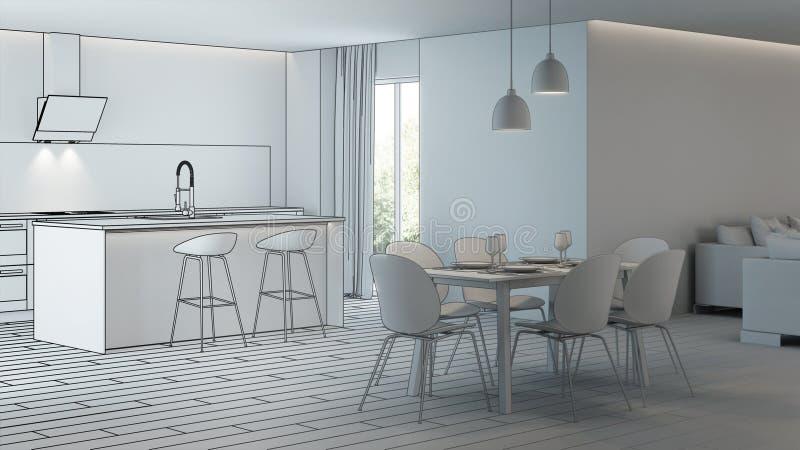 Moderner Hausinnenraum Projektplanung skizze stock abbildung