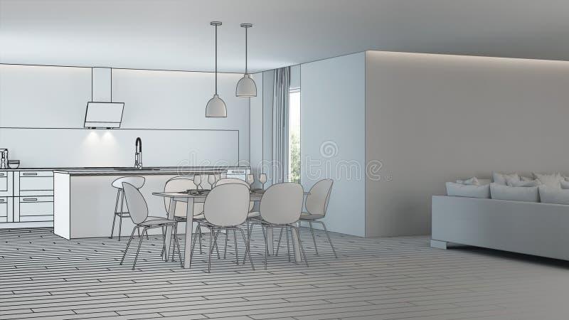 Moderner Hausinnenraum Projektplanung skizze lizenzfreie abbildung