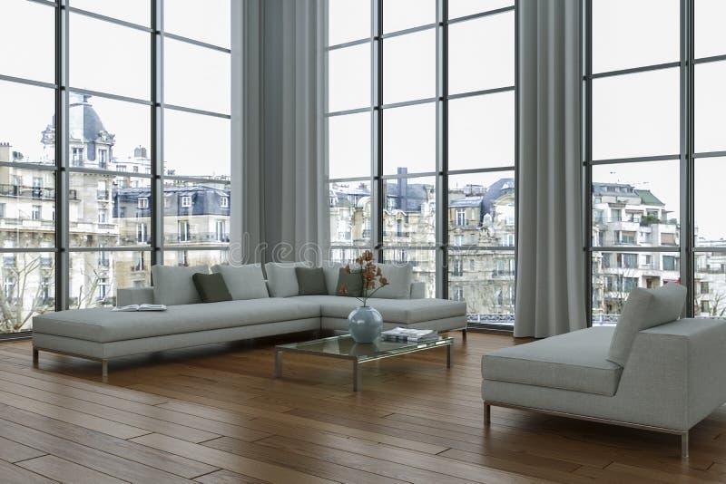 Moderner heller Dachboden mit großer Innenarchitektur Windows vektor abbildung