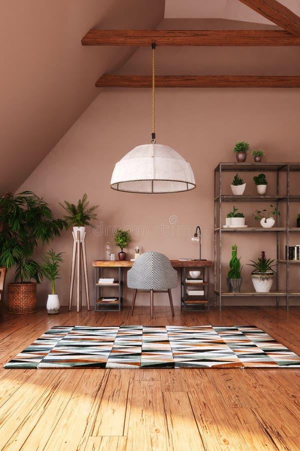 Moderner heller Innenraum des offenen Raumes im Dachboden lizenzfreie stockfotografie