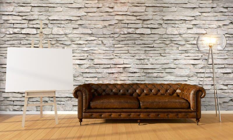 Moderner heller Innenraum Wiedergabe 3d lizenzfreie abbildung