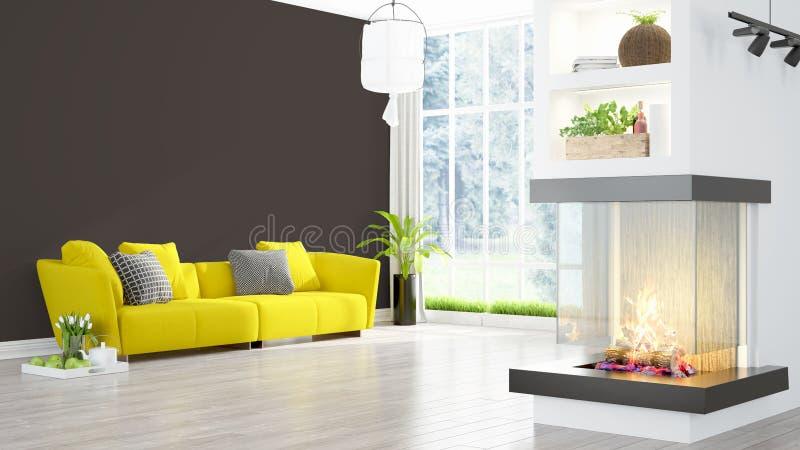 Moderner heller Innenraum Wiedergabe 3d stock abbildung