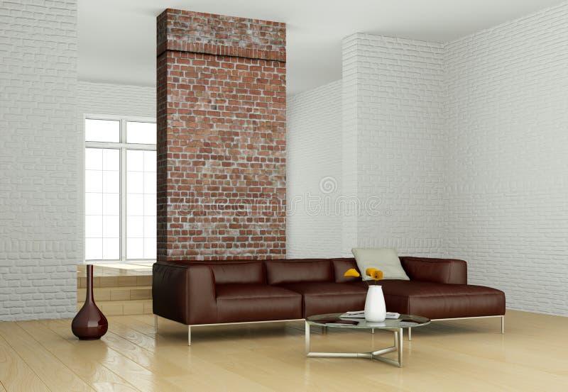 Moderner heller Raum der Innenarchitektur mit braunem Sofa stock abbildung