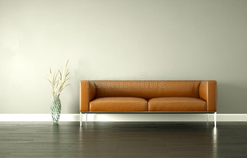 Moderner heller Raum der Innenarchitektur mit braunem Sofa lizenzfreie abbildung