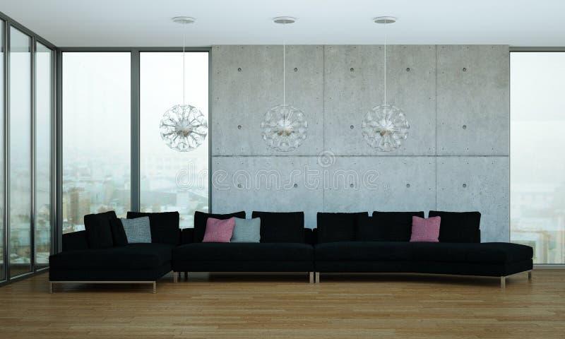 Moderner heller Raum der Innenarchitektur mit schwarzem Sofa lizenzfreie abbildung