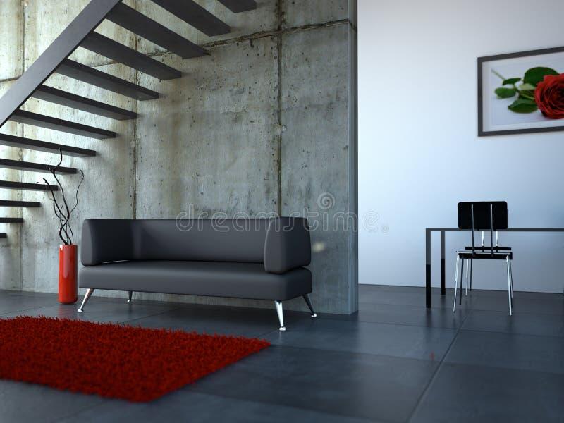 Moderner heller Raum der Innenarchitektur mit Sofa vektor abbildung