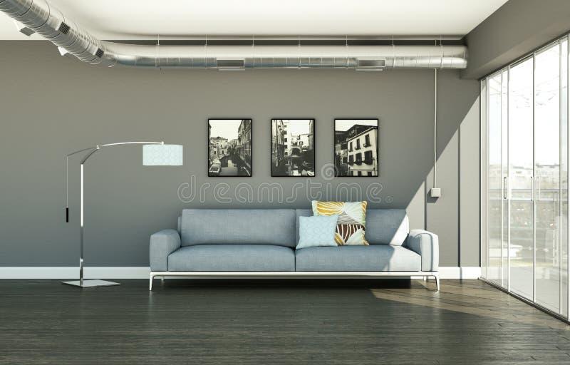 Moderner heller Raum der Innenarchitektur mit weißem Sofa stock abbildung