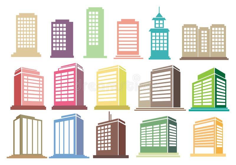 Moderner hoher Aufstiegs-Gebäude-Vektor-Ikonen-Satz stock abbildung