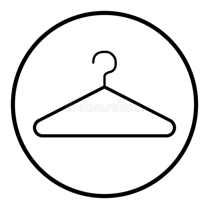 Moderner Ikonenvektor des Kleiderbügels lokalisiert auf weißem Hintergrund Shopsymbol lizenzfreie abbildung