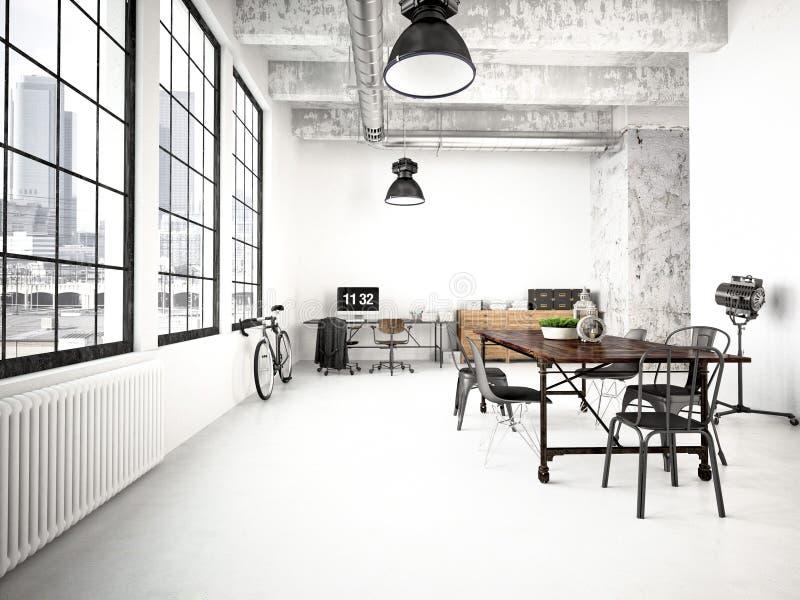 Moderner industrieller Dachboden Wiedergabe 3d vektor abbildung