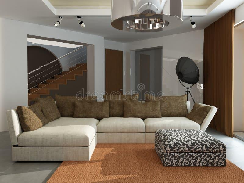 Moderner Innenraum. 3D übertragen lizenzfreie abbildung