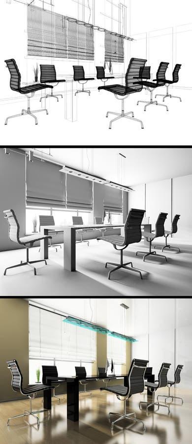 Moderner Innenraum des Büros lizenzfreie abbildung
