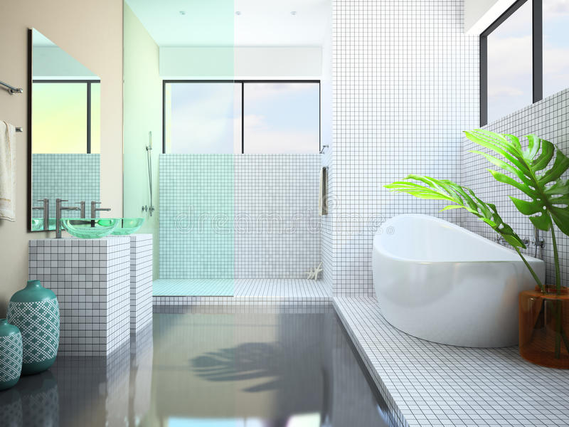 Moderner Innenraum des Badezimmers lizenzfreie abbildung