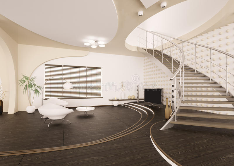 Moderner Innenraum des Wohnzimmers 3d überträgt vektor abbildung