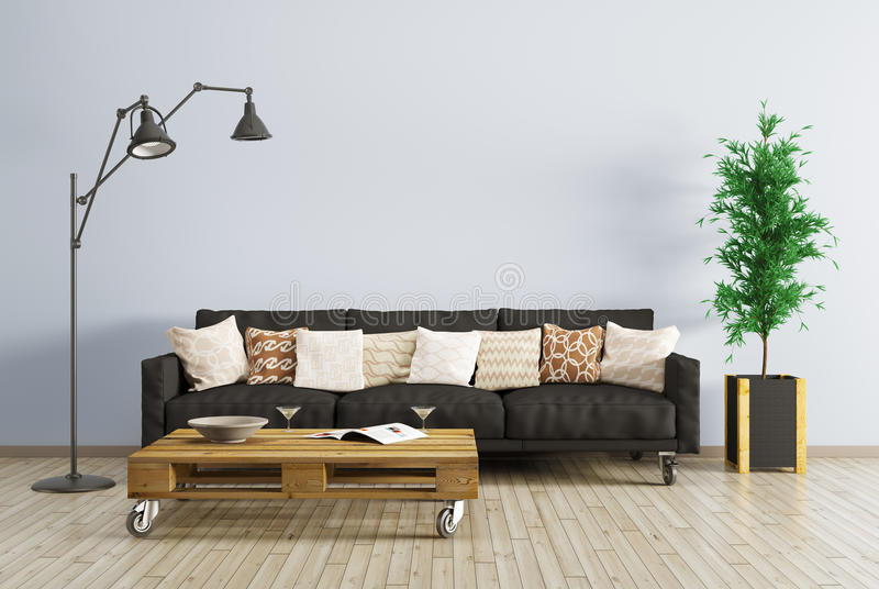 Moderner Innenraum des Wohnzimmers 3d überträgt lizenzfreie abbildung