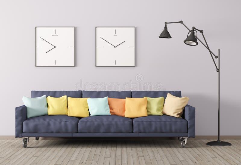 Moderner Innenraum des Wohnzimmers mit Sofa und Stehlampe 3d übertragen lizenzfreie abbildung