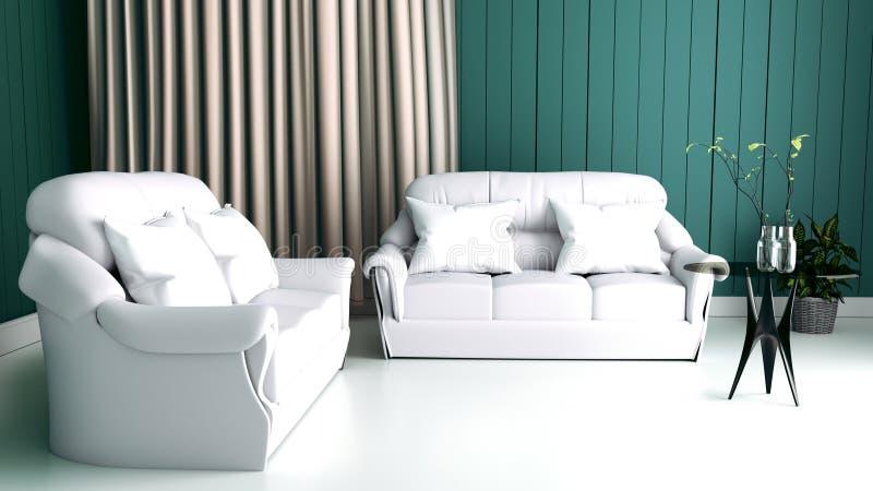 Moderner Innenraum des Wohnzimmers und des weichen Sofas auf Wanddunkelheit, Wiedergabe 3d lizenzfreie abbildung
