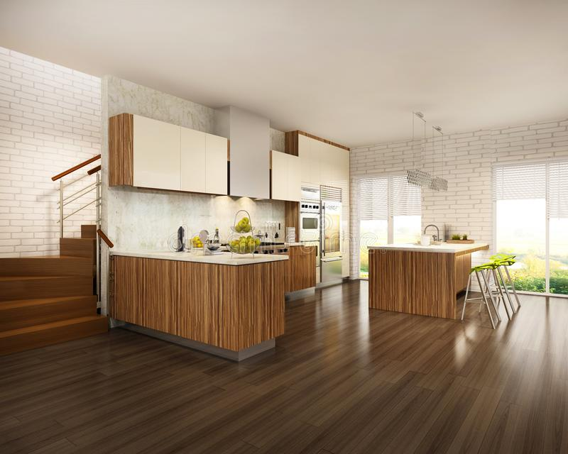 Moderner Innenraum des Wohnzimmers vereinigt mit weißer Küche mit hölzernen Elementen in der skandinavischen Art lizenzfreies stockfoto