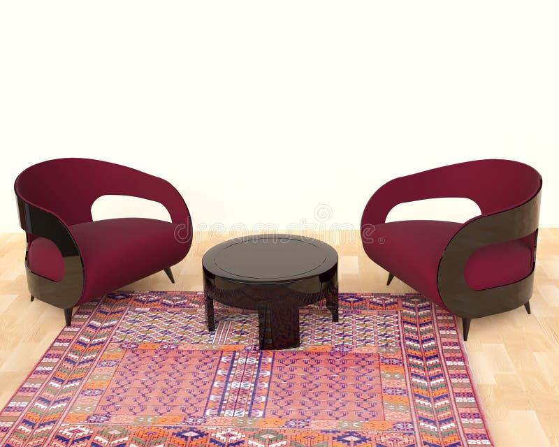 Moderner Innenraum mit Lehnsesseln und Teppich vektor abbildung