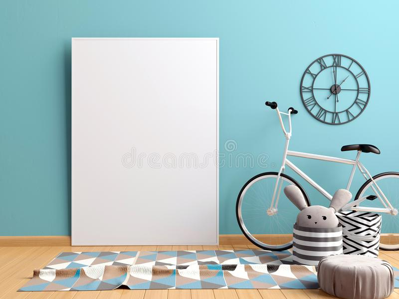 Moderner Innenraum mit Poster und Fahrrad Plakat-Spott oben 3d IL stock abbildung