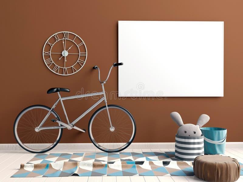 Moderner Innenraum mit Poster und Fahrrad Plakat-Spott oben 3d IL lizenzfreie abbildung