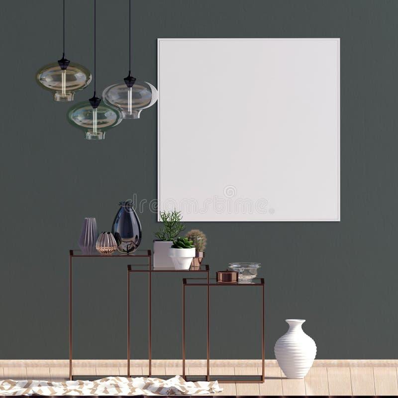 Moderner Innenraum mit Racking, Poster und Lampen Plakat-Spott oben vektor abbildung