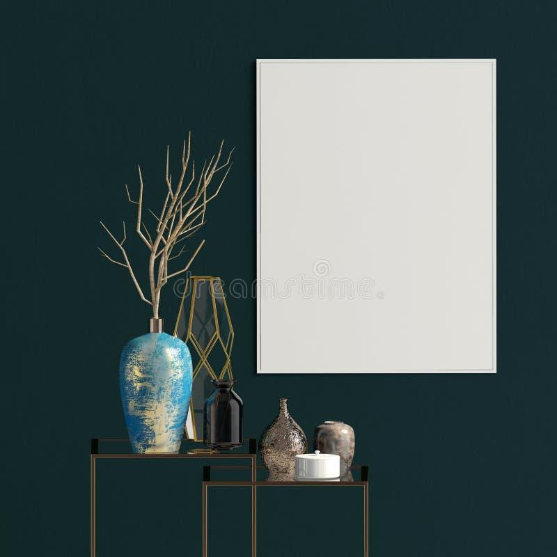 Moderner Innenraum mit Racking, Poster und Vasen Plakat-Spott oben lizenzfreie abbildung