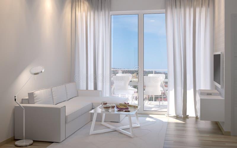 Moderner Innenraum mit Sofa und Fenster 3D stockfotografie