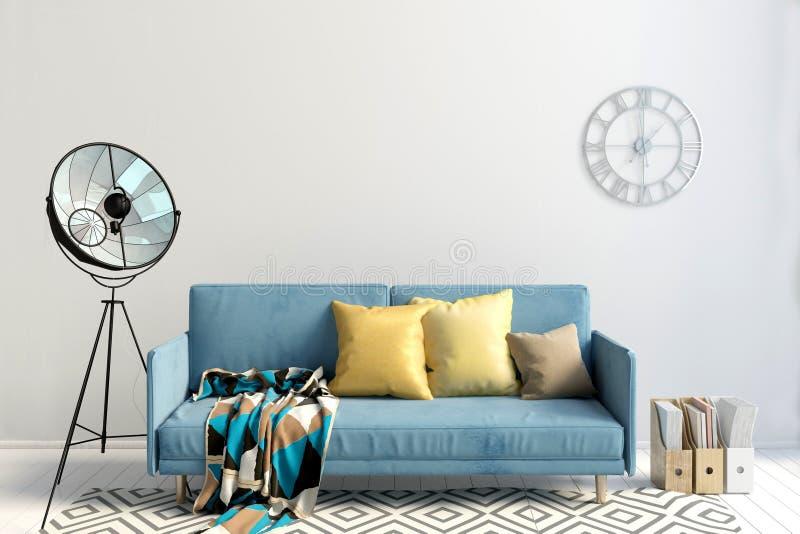 Moderner Innenraum mit Sofa Wandspott oben vektor abbildung