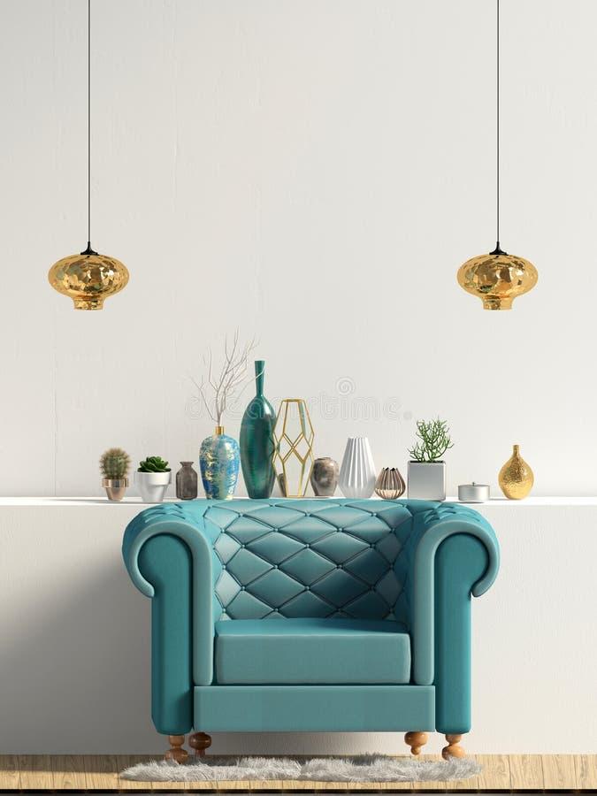 Moderner Innenraum mit Stuhl Wandspott oben lizenzfreie abbildung