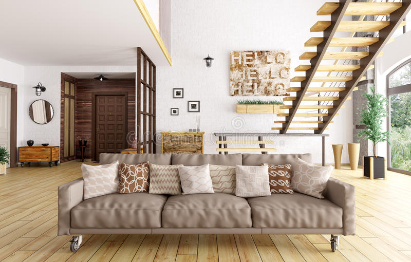 Moderner Innenraum von Wohnzimmer- und Hallen3d Wiedergabe lizenzfreie abbildung