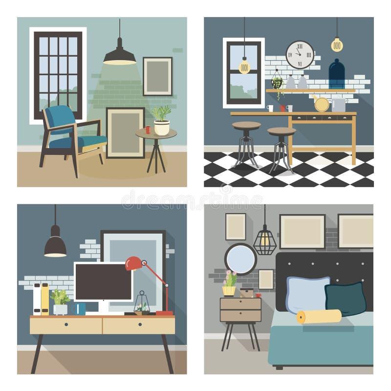 Moderner Innenraumsatz Küche, Schlafzimmer, Wohnzimmer, Arbeitsplatz in der Dachbodenart stock abbildung