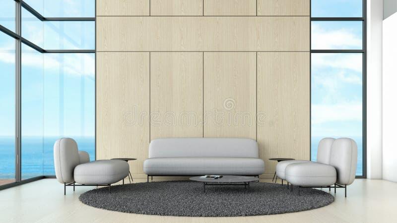 Moderner Innenwohnzimmerholzfußboden mit grauer Sofa- und Stuhlfensterseeansicht-Sommerschablone für Spott herauf Wiedergabe 3d m lizenzfreie abbildung