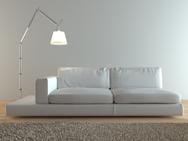 Moderner italienischer Sofainnenraum stock abbildung