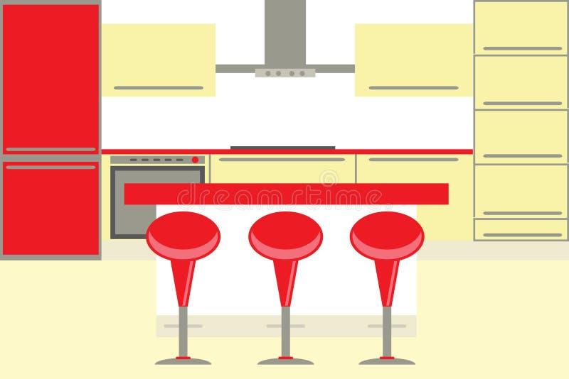 Moderner Kücheinnenraum stock abbildung