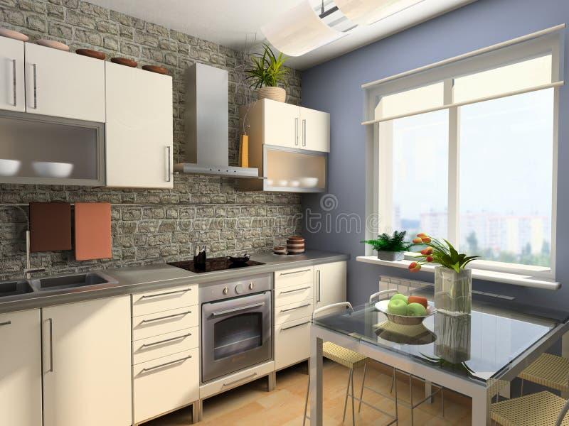 Moderner Kücheinnenraum lizenzfreie abbildung
