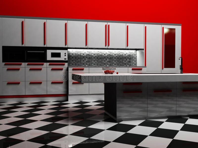 Moderner Kücheinnenraum in der weißen und roten Farbe lizenzfreie abbildung