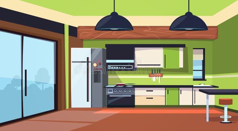 Moderner Küchen-Innenraum mit Ofen, Kühlschrank und kochenden Geräten lizenzfreie abbildung