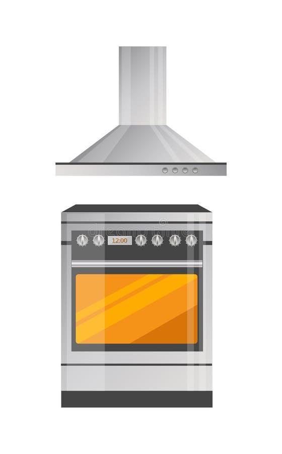 Moderner Küchen-Ofen mit starkem Hood Above lizenzfreie abbildung