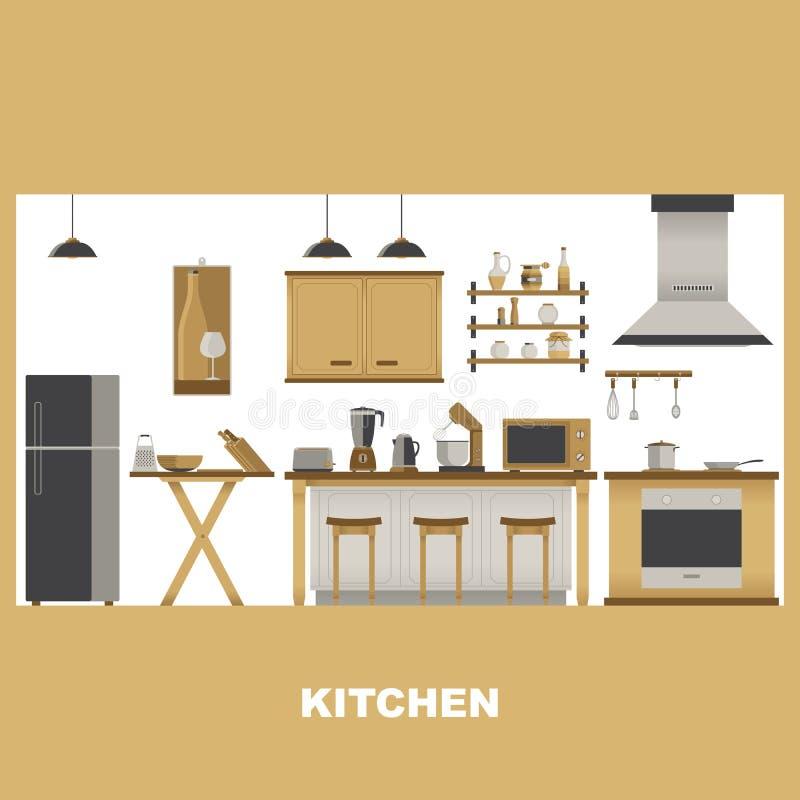 Moderner Küchen-Studio-Innenraum mit Ausrüstung vektor abbildung