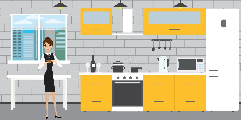 Moderner Kücheninnenraum auf einem Backsteinmauerhintergrund, Fenster a stock abbildung