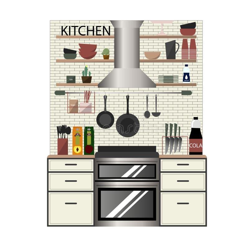 Moderner Kücheninnenraum in der flachen Art lizenzfreie abbildung
