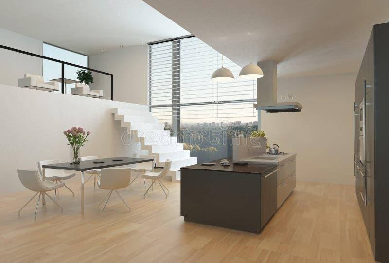 Moderner Kücheninnenraum Mit Einem Mezzanin Stock Abbildung ...