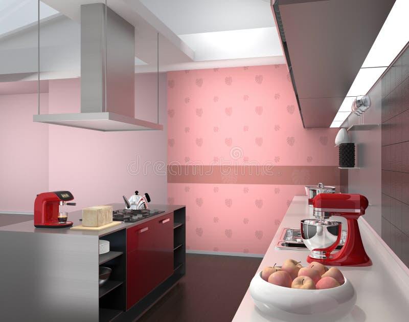 Moderner Kücheninnenraum mit intelligenten Geräten in der rosa Farbkoordination stock abbildung